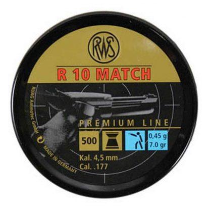 RWS R10 Match Pistol .177 Cal, 7.0 Grains, 4.50mm, Wadcutter, 500ct